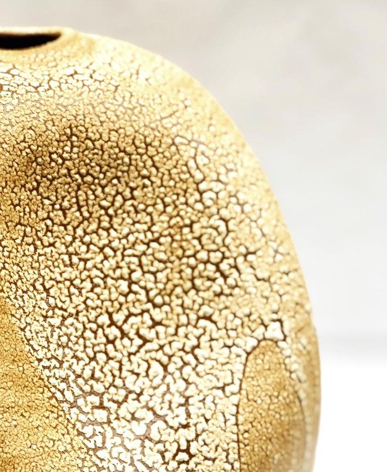 Glazed Wabi Sabi Ceramic Vase, Interior Sculpture, Handmade Contemporary Texture Vessel For Sale