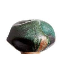 Wabi Sabi Green Metal Ceramic Vase, Interior Sculpture Handmade