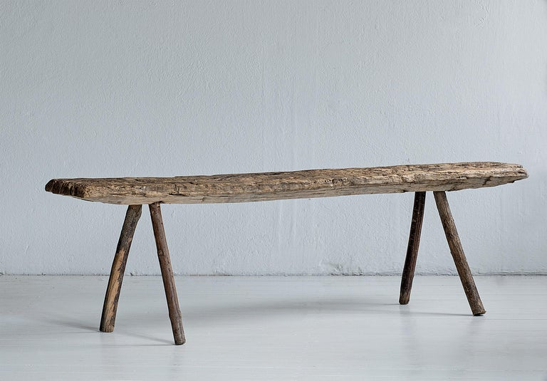Wabi-Sabi, primitive wooden bench with great patina, Sweden, 19th century.