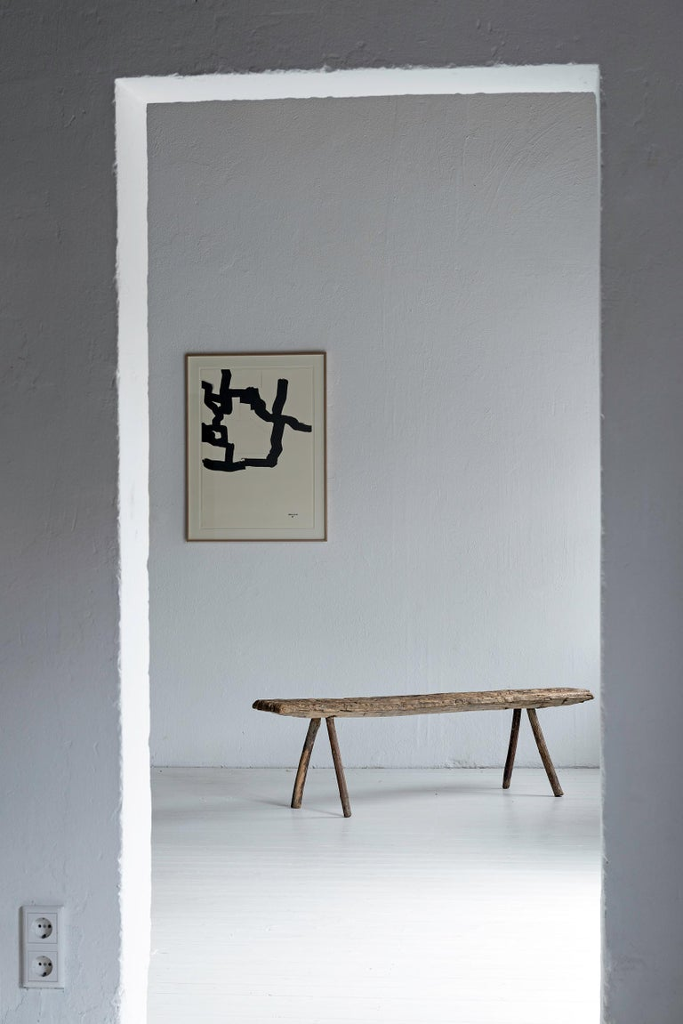 Wabi-Sabi, Primitive Wooden Bench with Great Patina In Good Condition For Sale In Jesteburg, DE