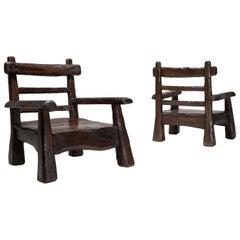 Wabi Sabi Rustic Lounge Chairs in Pine
