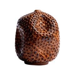 Wabi Sabi Tall Orange Ceramic Textured Vase, Interior Sculpture, Handmade Vessel