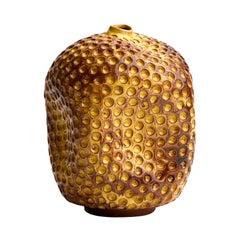 Wabi Sabi Tall Yellow Ceramic Textured Vase, Interior Sculpture, Handmade Vessel