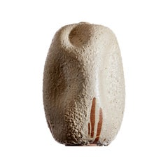Wabi Sabi White Textured Ceramic Vase, Interior Sculpture Handmade, Creme