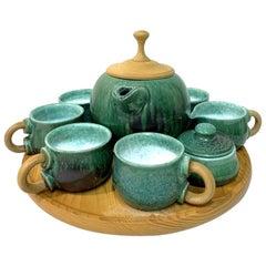Wabisabi Style Handmade Ceramic Tea Set on Wooden Tray by M. Kalmar