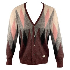 WACKO MARIA Size M Multi-Color Print Mohair Blend Buttoned Cardigan Sweater