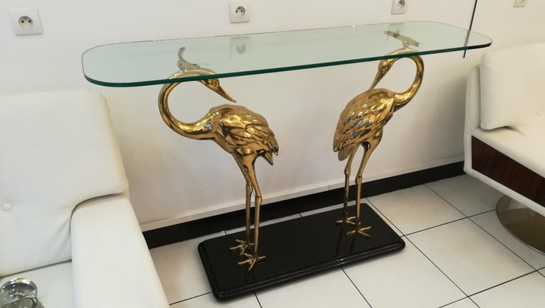 Wading birds console in brass and glass, circa 1970, in the style of Alain Chervet