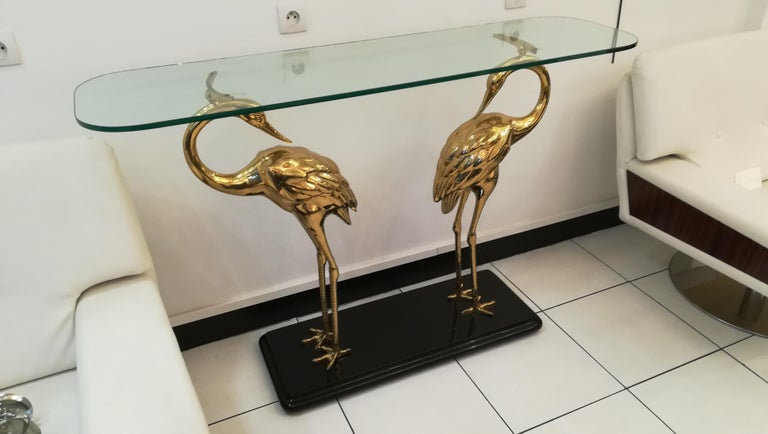 French Wading Birds Console, Alain Chervet style, circa 1970 For Sale