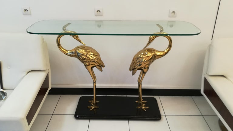 Wading Birds Console, Alain Chervet style, circa 1970 In Good Condition For Sale In Saint-Ouen, FR