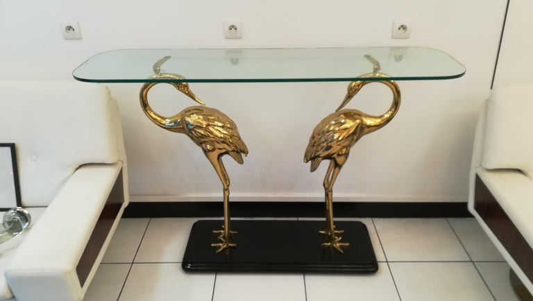 Brass Wading Birds Console, Alain Chervet style, circa 1970 For Sale