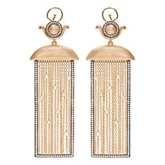 Wadjet Goddess Rectangular Drop Earrings with Pearl Tassels Vermeil Gold