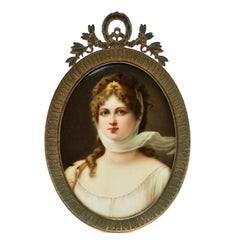 Wagner CM Hutschenreuther Hand Painted Porcelain Plaque Queen Louisa of Prussia