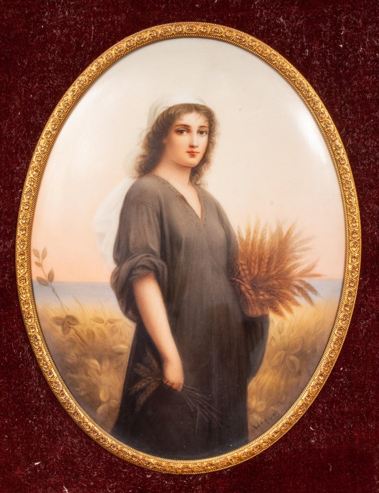 19th century Continental hand painted porcelain plaque, signed in the lower left corner: