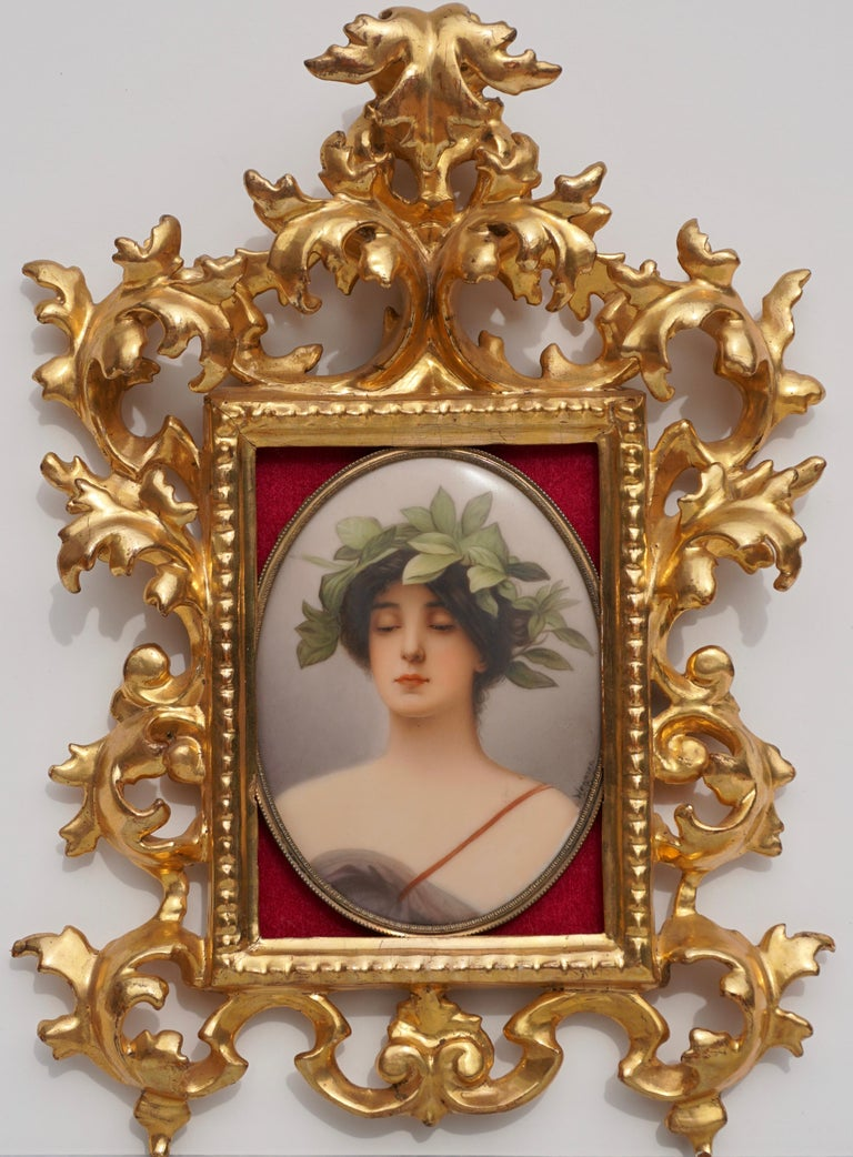 Beaux Arts Wagner Porcelain Plaque Painting of Daphne by C.M. Hutschenreuther For Sale