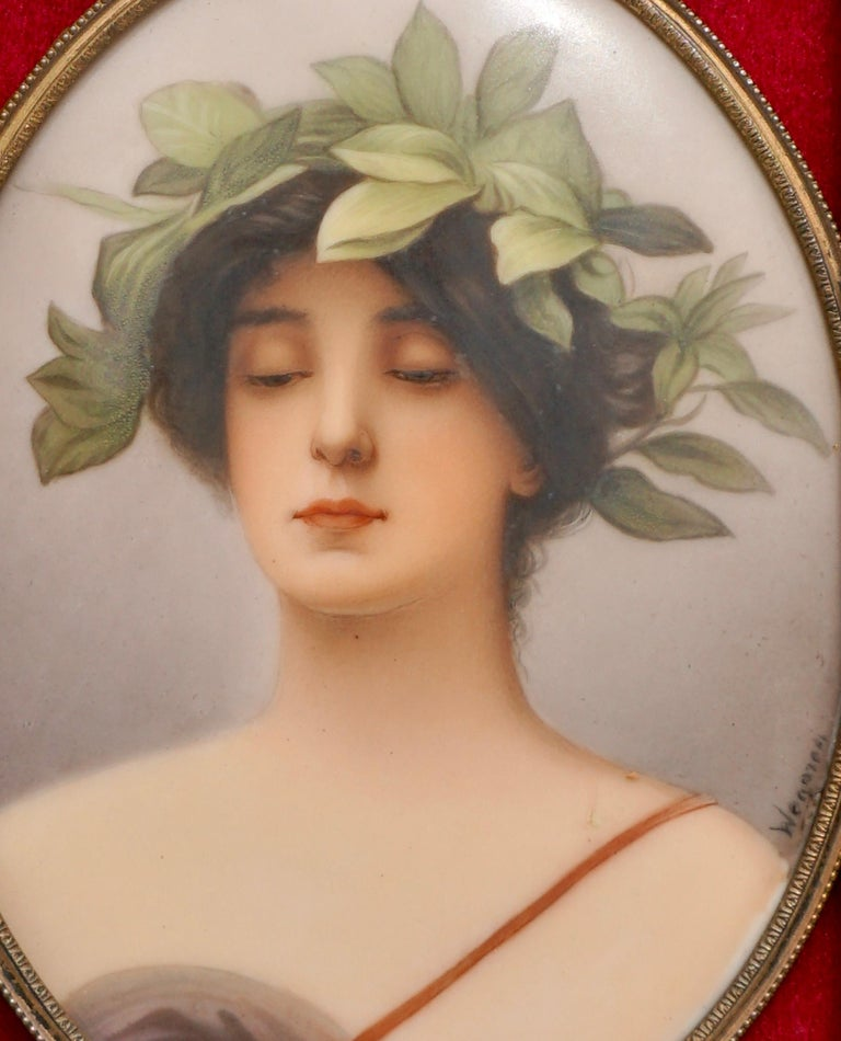 German Wagner Porcelain Plaque Painting of Daphne by C.M. Hutschenreuther For Sale