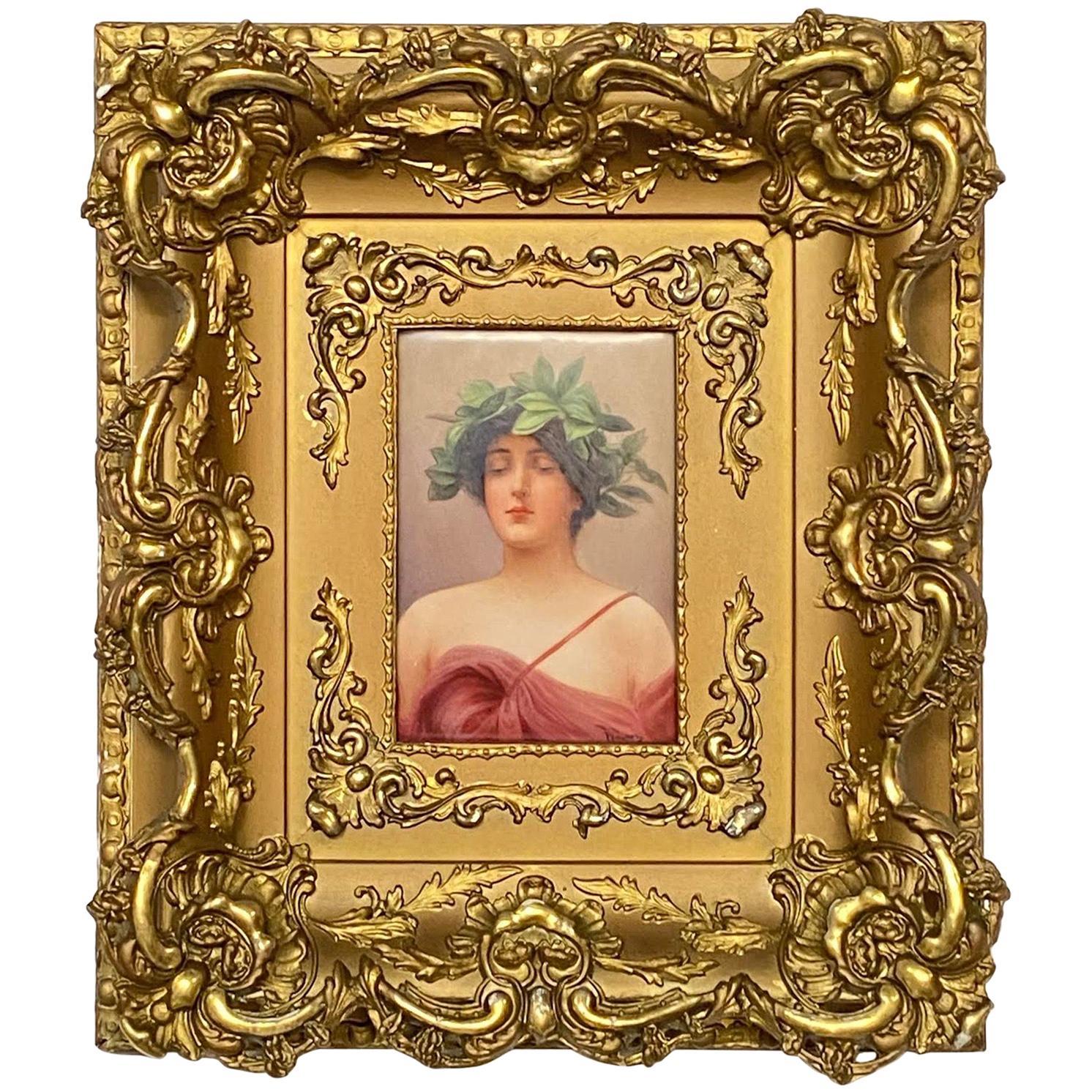 Wagner Porcelain Plaque Portrait of 'Daphne' by C.M. Hutschenreuther
