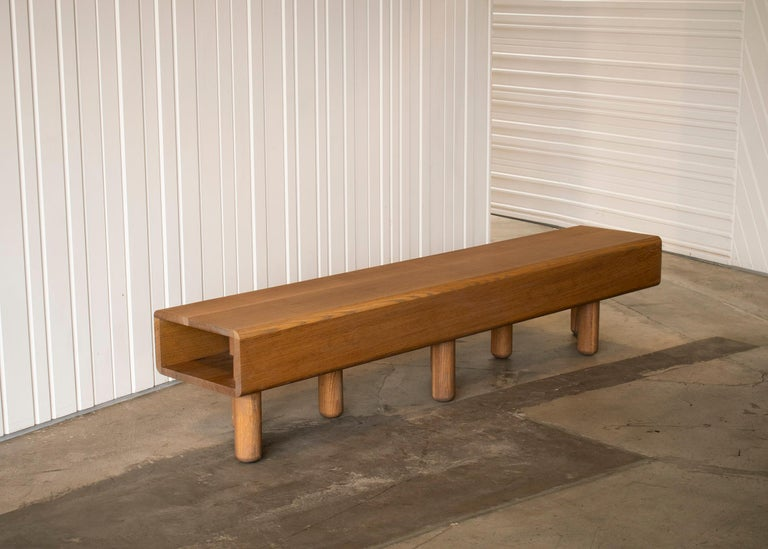 American Waiting Bench in White Oak For Sale