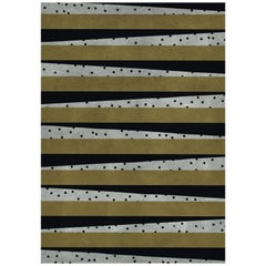 Waizen Black & Gold Area Rug in Hand-Tufted Wool & Botanical Silk