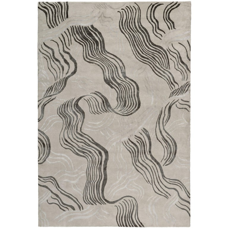Wake Hand-Knotted 6x4 Rug in Wool and Silk by Kelly Wearstler For Sale