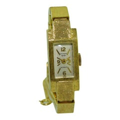 Wakmann, Breitling, 14Kt. Solid Gold Art Deco Ladies Bracelet Watch circa 1960s