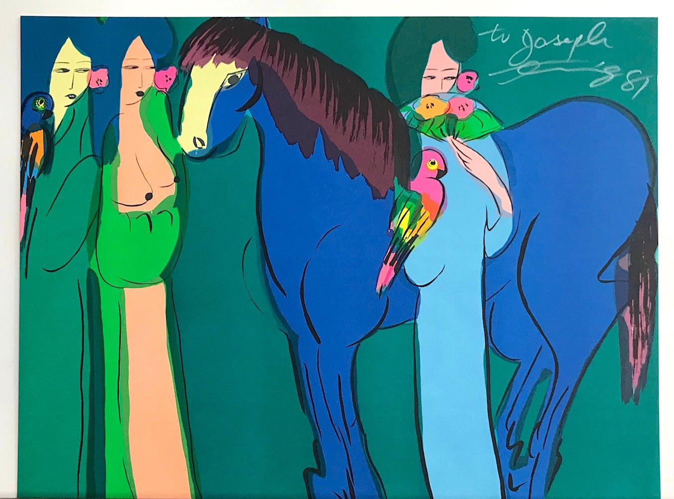 BLUE HORSE, THREE GEISHAS Signed Lithograph, Asian Women, Parrots, Teal Blue