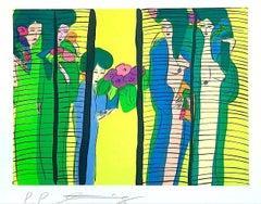 FIVE GEISHA WITH FANS Signed Lithograph Asian Women Shoji Screen, Lime Yellow