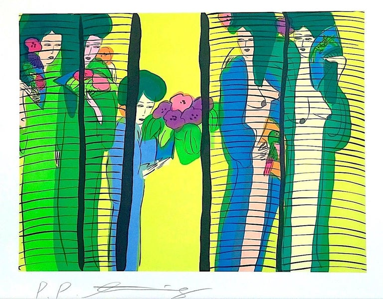 Walasse Ting Figurative Print - FIVE GEISHA WITH FANS Signed Lithograph Asian Women Shoji Screen, Lime Yellow