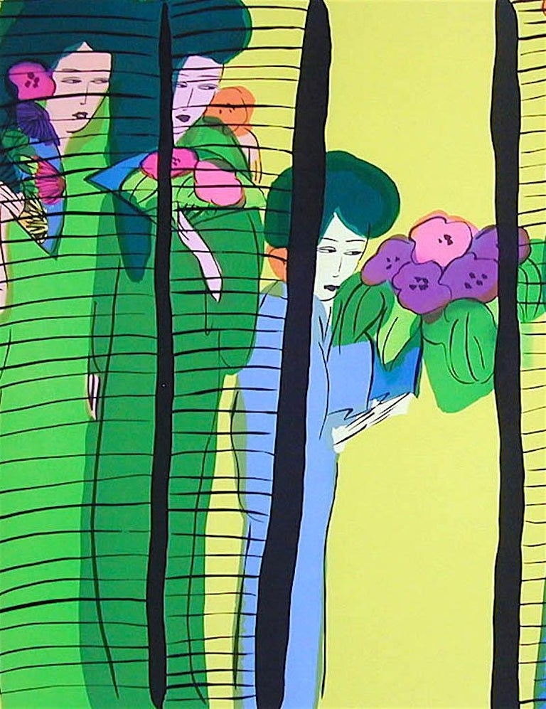 FIVE GEISHA WITH FANS Signed Lithograph Asian Women Shoji Screen, Lime Yellow - Contemporary Print by Walasse Ting