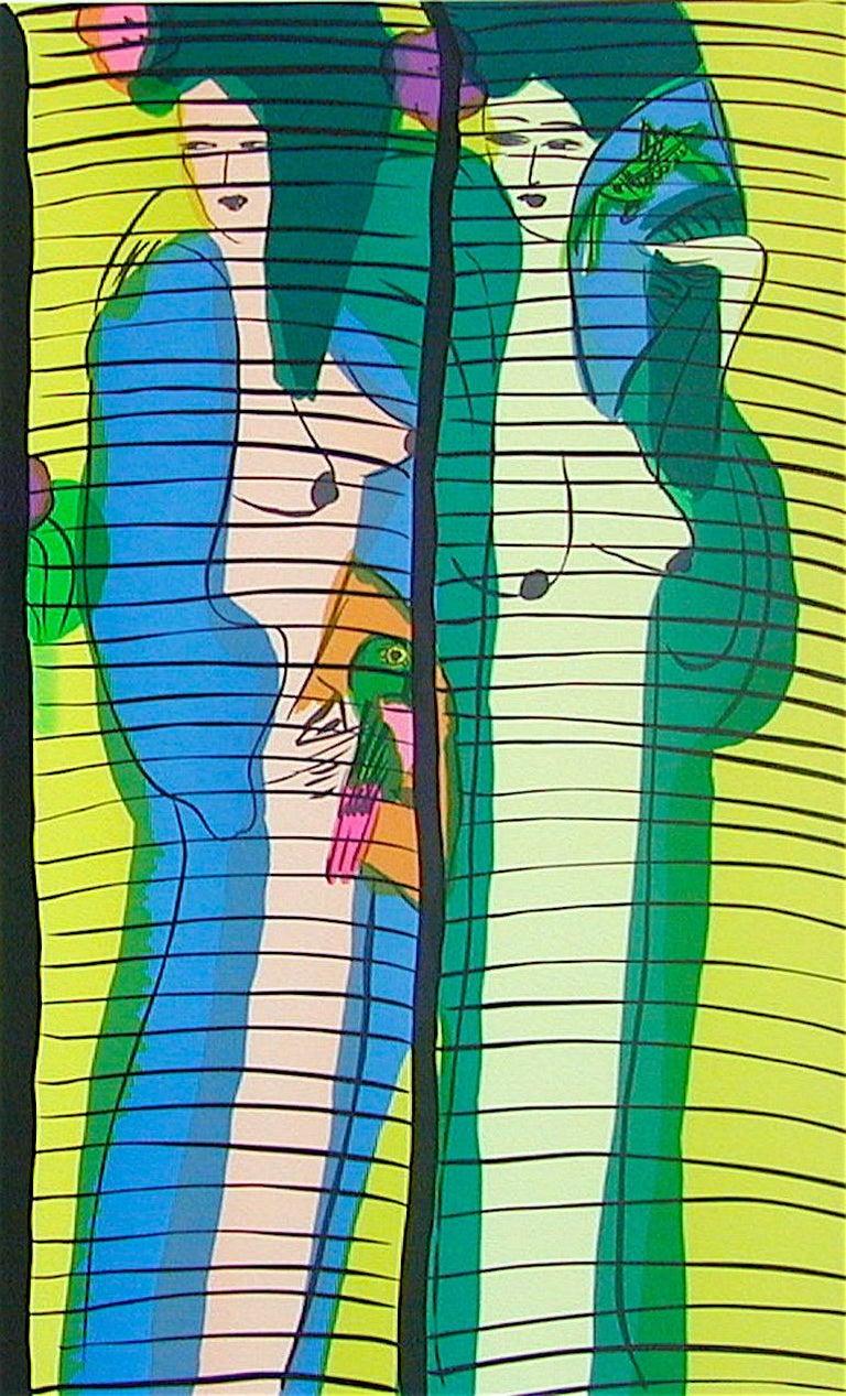 FIVE GEISHA WITH FANS Signed Lithograph Asian Women Shoji Screen, Lime Yellow - Green Figurative Print by Walasse Ting
