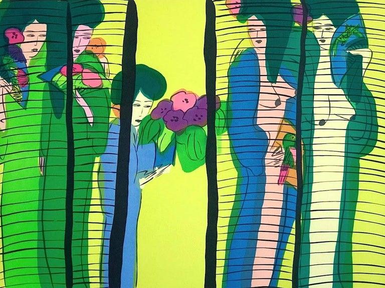 FIVE GEISHA WITH FANS Signed Lithograph Asian Women Shoji Screen, Lime Yellow - Print by Walasse Ting