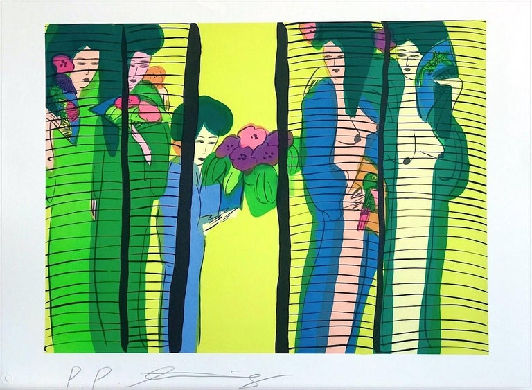 FIVE GEISHA WITH FANS is an original hand drawn lithograph printed on archival Somerset printmaking paper, 100% acid free, by the renowned Chinese born artist Walasse Ting (DING XIONGQUAN, Chinese, 1929-2010). Ting's use of bold colors and