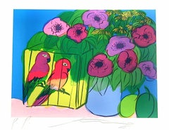 PARROTS AND FLOWERS Hand Drawn Lithograph, Colorful Flowers, Plums, Parrots