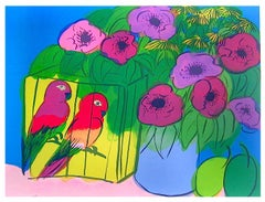 PARROTS AND FLOWERS Signed Lithograph, Magenta Purple Flowers, Plums, Parrots
