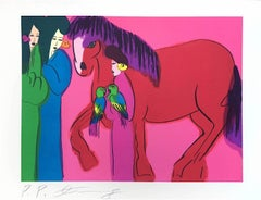 RED HORSE on HOT PINK THREE GEISHAS Signed Lithograph, Asian Women, Parrots