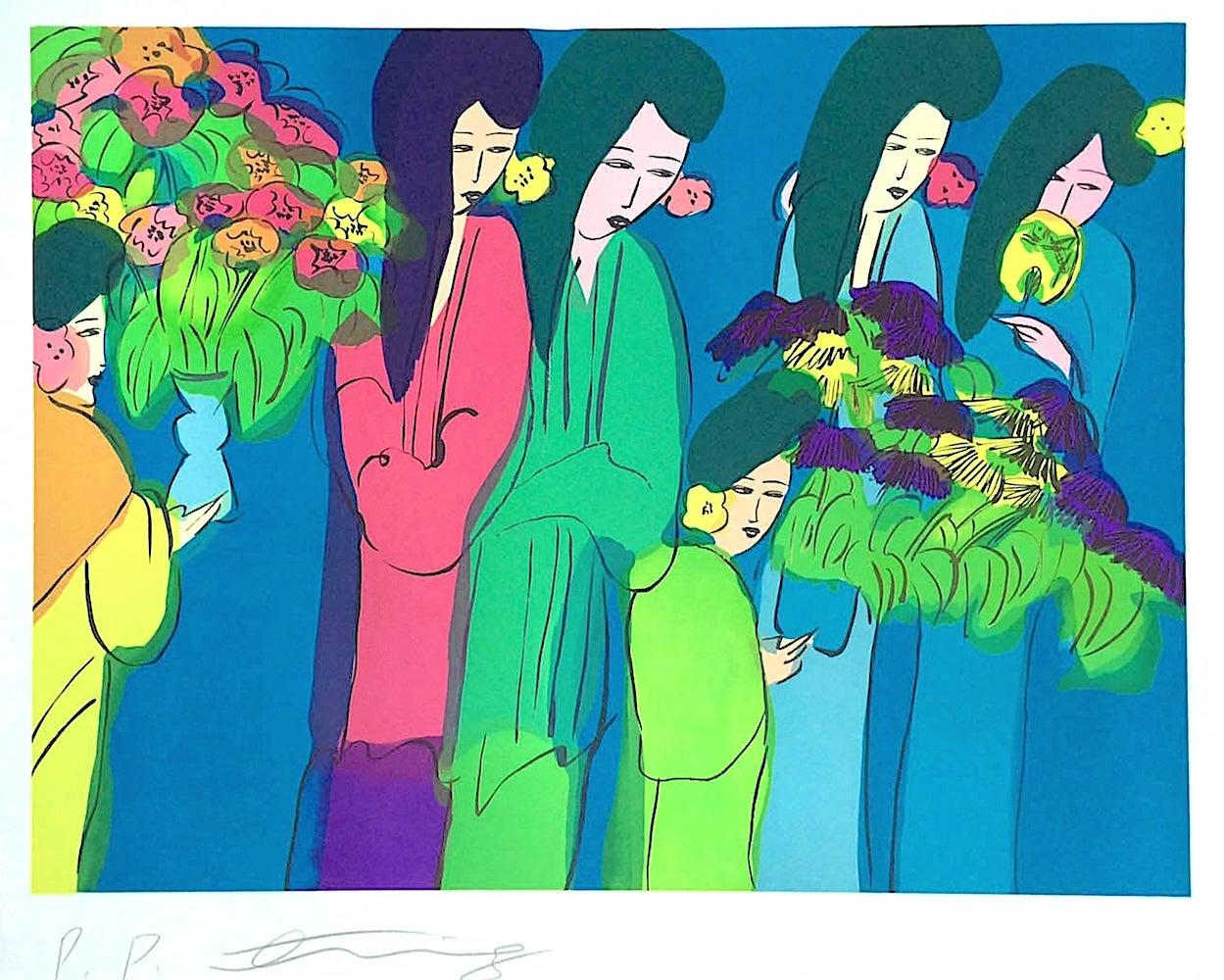 SIX GEISHA WITH FLOWERS Signed Lithograph Asian Women Kimonos Flowers Teal Blue