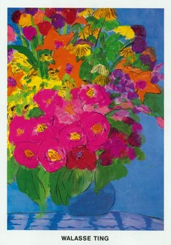 "Walasse Ting-Flowers-62.25"" x 43.25""-Poster-1985-Contemporary-Multicolor, Blue"