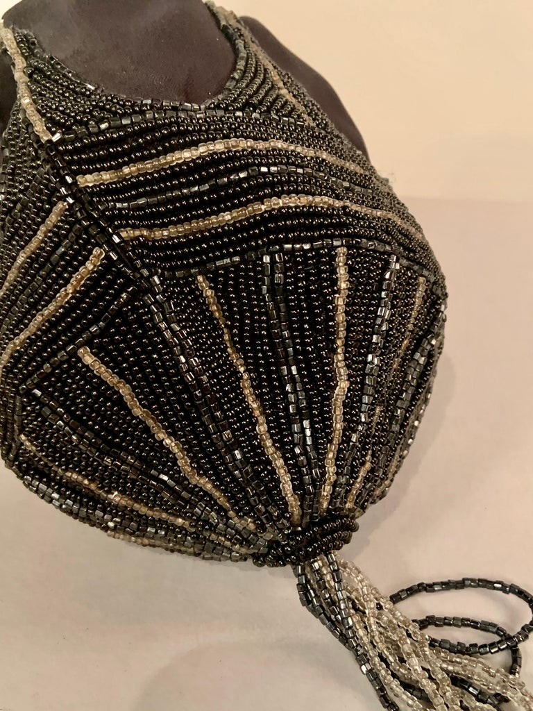 Black Walborg 1970's Beaded Satin Evening Bag in the Art Deco Style For Sale