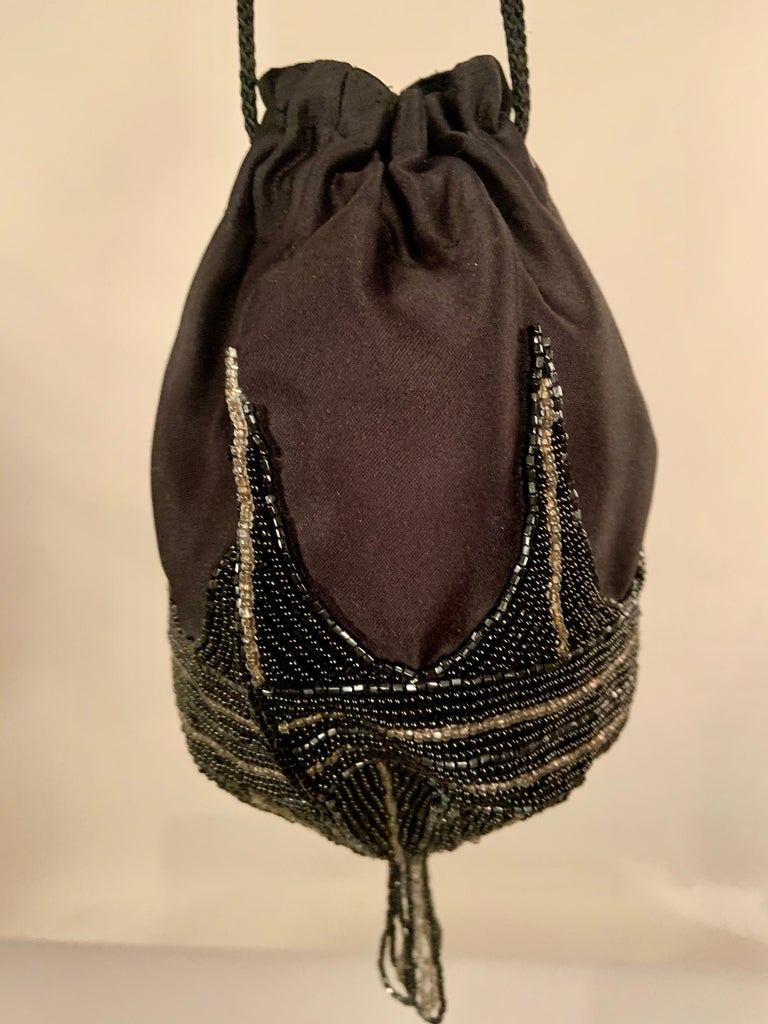 Walborg 1970's Beaded Satin Evening Bag in the Art Deco Style In Excellent Condition For Sale In New Hope, PA