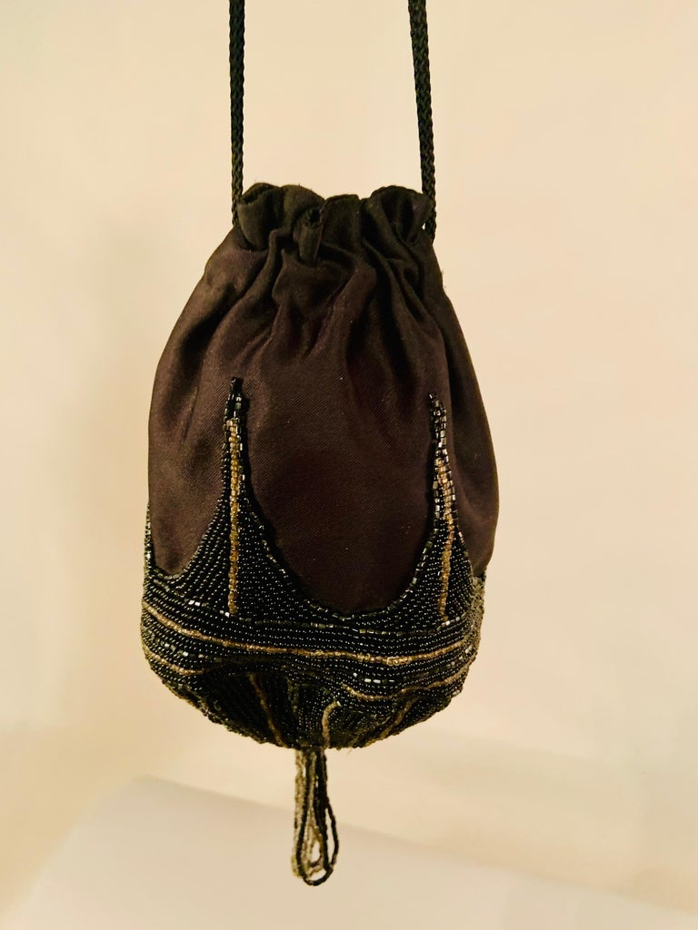 Walborg 1970's Beaded Satin Evening Bag in the Art Deco Style For Sale 1
