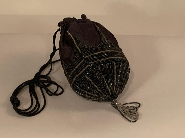 Walborg 1970's Beaded Satin Evening Bag in the Art Deco Style For Sale 2