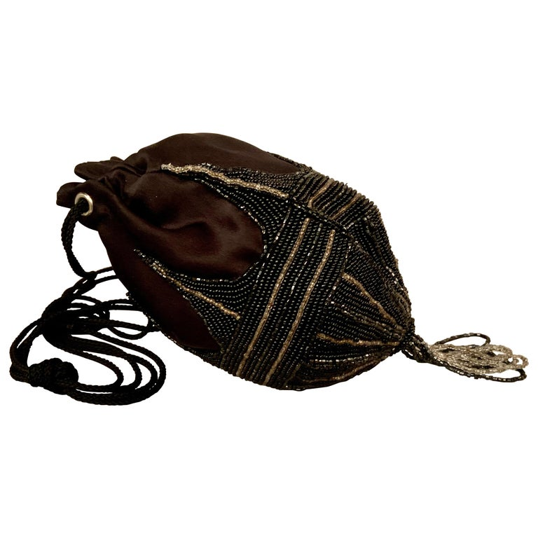 Walborg 1970's Beaded Satin Evening Bag in the Art Deco Style For Sale