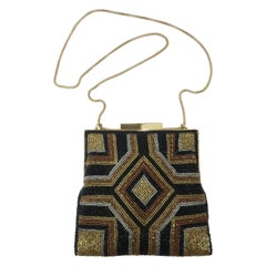Walborg Art Deco Style Black & Gold Beaded Handbag C.1960