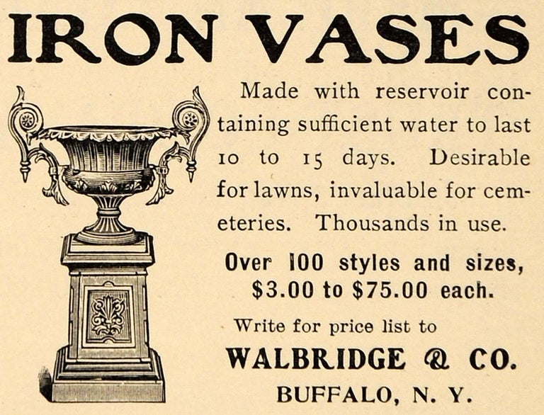 Walbridge & Co. of Buffalo Cast Iron Fountain Urn For Sale 8