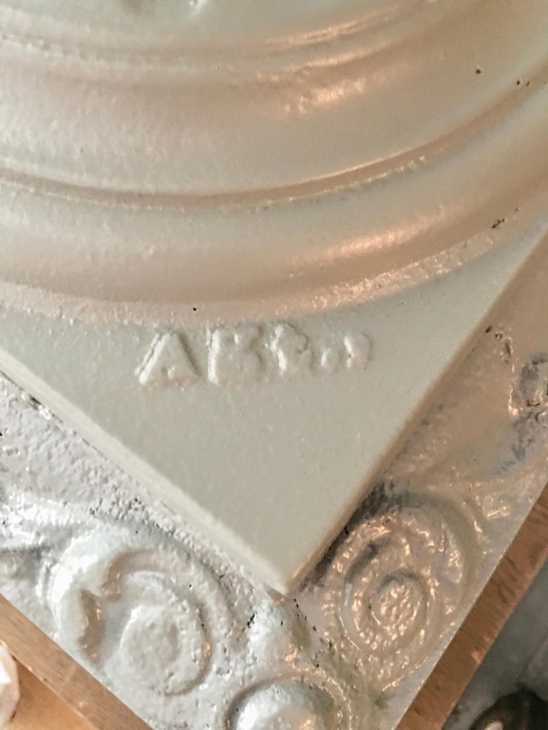 Walbridge of Buffalo Cast Iron Reservoir Vase In Good Condition For Sale In Hingham, MA