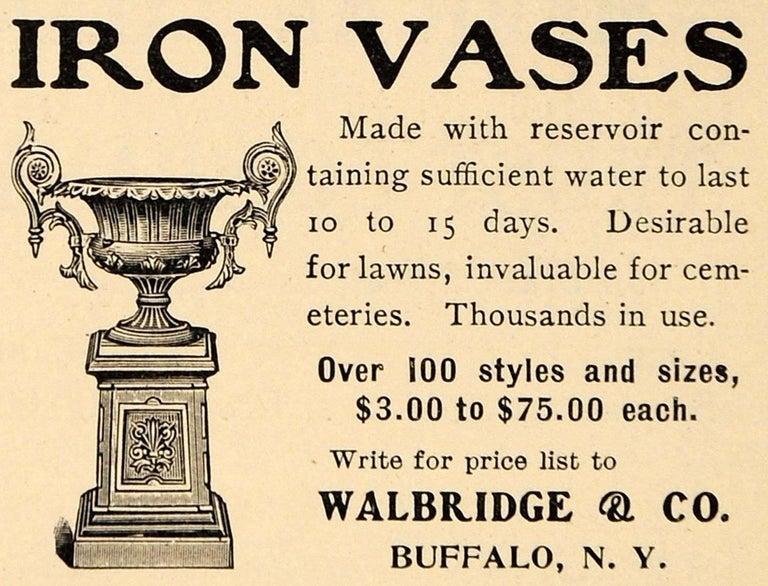 Walbridge of Buffalo Cast Iron Reservoir Vase For Sale 1