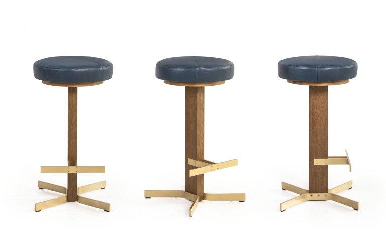 Walcott Barstool, White Oak and Solid Brass Base, Blue Leather Seat 4