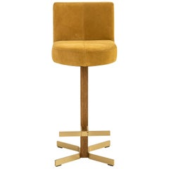 Walcott Barstool with Back, Oak and Brass Base with Gold Suede Seat COL or COM