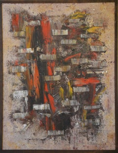 Untitled  (Abstract Cubist Composition in Red, White, Brown & Black)