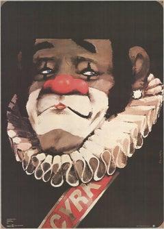 1970 Waldemar Swierzy 'Cyrk Clown' Vintage Black,Red,White Poland Offset Lithogr