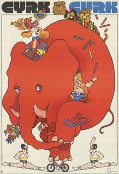 1973 Waldemar Swierzy 'Cyrk Cycling Elephant' Vintage Red,Multicolor Poland Offs